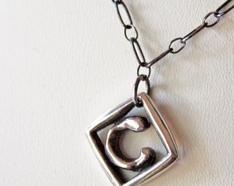 Letter C Sterling Silver Monogram Pendant,  Chunky Initial Unisex Silver Necklace,  Modern Silver Initial Charm Necklace