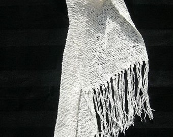 Handwoven White cotton lace scarf