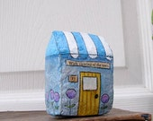 Art Sculpture Paper Mache - Chubby Little House Number 17 - With viewing of the town