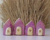 Chubby Paper Mache Houses Lavendar Edition of Itty Bitty  -LOVE - Set of Four