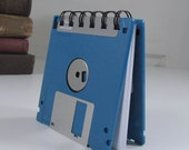 Dark Teal Blue Recycled Geek Gear Blank Floppy Disk Mini Notebook