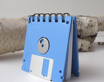 Light Blue Recycled Geek Gear Blank Floppy Disk Mini Notebook