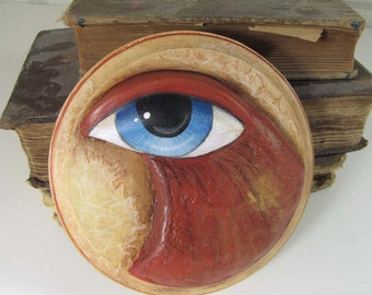 Art Sculpture - Big Eyed Bird - Paper Mache