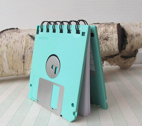 Seafoam Green Recycled Geek Gear Blank Floppy Disk Mini Notebook