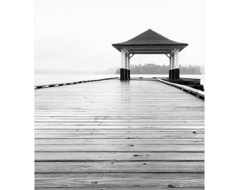 Lake House Decor - Black and White Photography - Cottage Wall Decor - Large Lake Home Art - Muskoka Lake Photograph - Dock Pier Architecture
