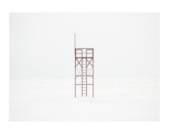 Winter Beach Art Prints - Travel - Large Horizontal Wall Art - Minimal Architectural Print - Lifeguard Tower Photograph - Red White