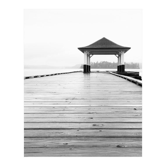 Lake House Decor - Black and White Photography - Cottage Wall Decor - Large Lake Home Art - Muskoka Lake Photograph - Dock Pier Architecture