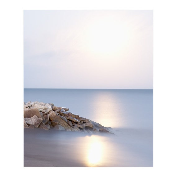 Full Moon Wall Art - Large Vertical Photography - Lake Erie Beach Art Prints - Lunar Print - Nature Wall Art - Living Room Art