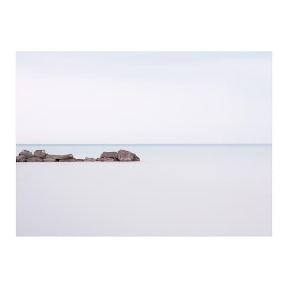 Blue Minimalist Photography - Coastal Art - Seascape - Extra Large Wall Art - Bedroom Wall Decor - Lake Erie - Port Stanley Beach Art