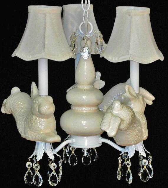 Nursery Chandelier - Bunny Ceiling Fixture - Kid's Lighting - Children's Ceiling Fixture