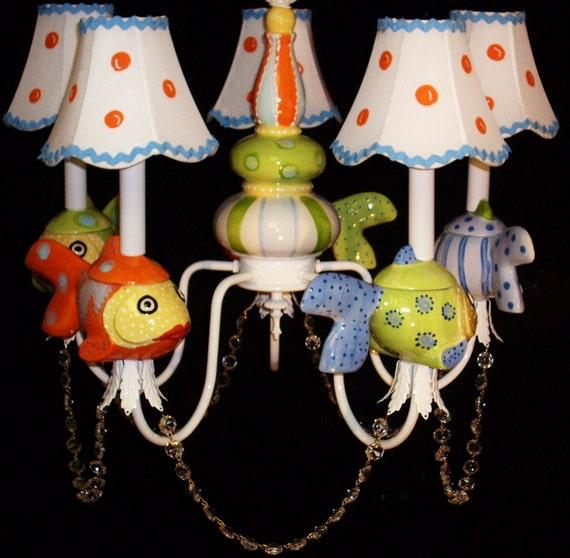 Kids Lighting -  Under The Sea Theme -  Fish Chandelier - Children's Ceiling Fixture - Beach House Lighting