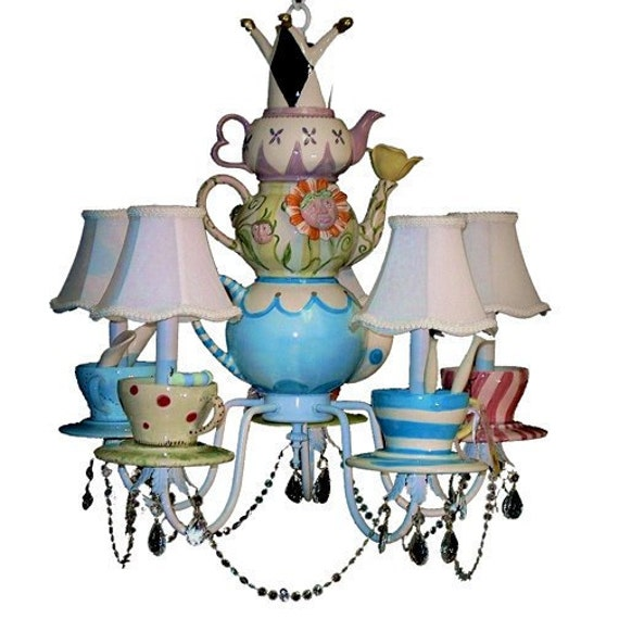 Alice In Wonderland Chandelier - Mad Hatter - Tea Party Decor - Whimsical Lighting