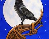 Crow Raven Nordic Moon 5x7 Fine Art Print The Watcher