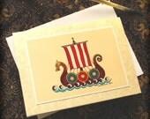 Card Viking Ship with Envelope 4x5 1/2 Scandinavian Nordic