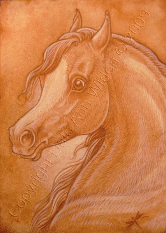ACEO Arabian Horse Art Print Equine Quality Hand Enhanced