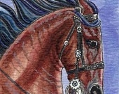 Original Watercolor ACEO Painting of Bay War Horse by Gail H Ragsdale