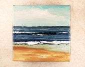 By the Seashore Artwork - Original Oil Painting - Abstract landscape art - 6x6