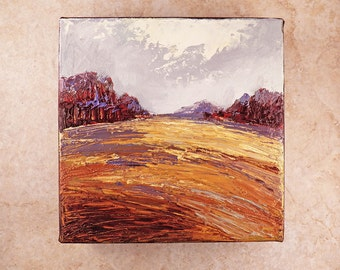 Abstract Field Landscape Painting - Original oil painting - 6x6