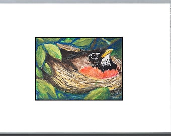 Mother Robin - Original Mixed Media Painting - Childrens Room - Nursery Art - Mini ACEO Art