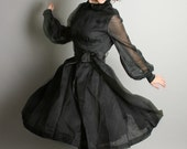 Vintage Little Black Dress Sheer Party Pleated Dress with Long Ribbon Bow