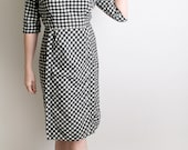 1950s Dress - Vintage Gingham Dress Black and White Robert Kirk Mad Men Dress - Medium