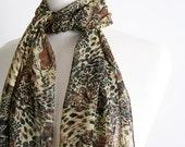 Vintage Scarf - Wild Cat Print Sheer Black Long Scarf - Animal Kingdom Clothing
