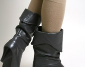 Vintage Charcoal Gray Boots Cobbies Folded Cuff Boots - Size US 6 Stone Grey