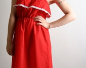 Vintage 1980s Sundress - Cherry Red Dolly Sweetheart Summer Fashion
