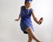 Vintage Flapper Fringe Dress and Fascinator with Sequins Galore - Showgirl Costume - Small Medium Great Gatsby