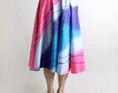 Vintage 1970s Circle Skirt in Cotton Candy Pink and Shades of Blue - Large
