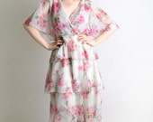 1970s Wrap Dress - Vintage Sheer Floral Tiered Ruffle Skirt Dress - Medium