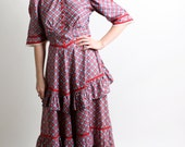 1930s Plaid Dress - Vintage Ruffles and Lace Southern Belle Maxi Dress - Medium Prairie Cranbery