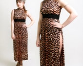 Leopard Print Maxi Dress - Vintage 1960s Sexy Side Slit Gown - Small to Medium