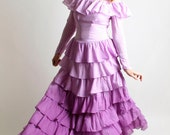 Ombre Ruffle Gown in Shades of Purple - Hand Dyed Vintage Flounce Dress - Small - Radiant Orchid