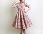 Vintage 1950s Dress - Cotton Candy Pink Paisley Print Day Dress by Robert Lee - Medium