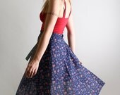 Vintage 1970s Wrap Skirt - Mauve Floral Print on Dark Navy Blue - Medium The Cherry Picker Prairie