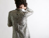 Vintage Sequin Dress - Joan Leslie by Kasper Tinsel Silver Sequin Galaxy Twiggy Dress - Small Sci Fi Space Age Fashion