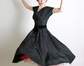 1950s Cocktail Dress Cordette of California Vintage Black - Small - Prom Evening