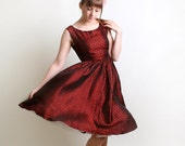 Vintage Cocktail Dress in Deep Ruby Red - 1950s 1960s Evening Fashion - Small to Medium Mad Men Holiday Dress