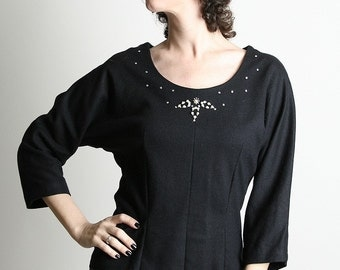 Black Beaded Blouse Delicate Vintage Evening Fancy Blouse - Small Autumn