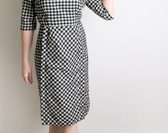 1950s Dress - Vintage Gingham Dress Black and White Robert Kirk Mad Men Dress - Medium