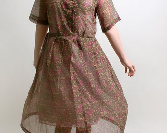 Vintage Floral Dress - Cranberry Red and Olive Green 1950s Virginia Hart Autumn Day Dress - XL 1X