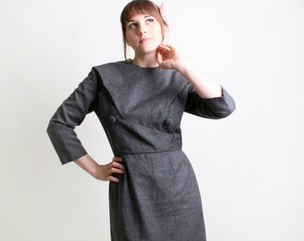 Vintage Vogue Paris Original Dress - 1950s Grey Wiggle Dress - Medium to Large