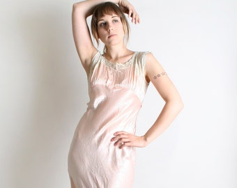 Vintage 1930s Silk Dress - Soft Cotton Candy Pink Maxi Slip Dress - Small Sweetheart