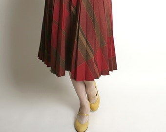 Vintage Wool Skirt - Studious School Girl Brick Red Plaid Wool Skirt - 24 to 26 inch waist Preppy Style