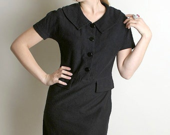 Vintage Wiggle Dress - Black 1960s Noir Koret of California Knit Dress - Medium Mad Men Fashion
