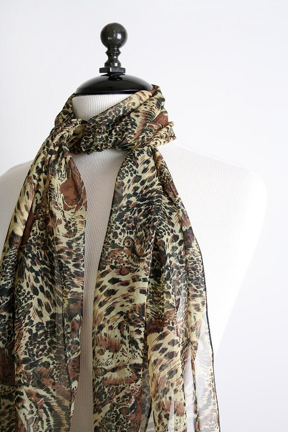 Vintage Scarf - Wild Cat Print Sheer Black Long Scarf - Animal Kingdom Clothing