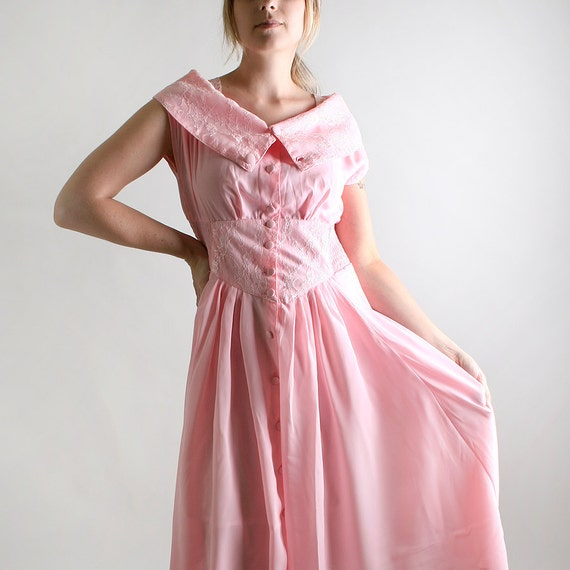 Vintage 1980s Lace Dress - Cotton Candy Pink and White - Large