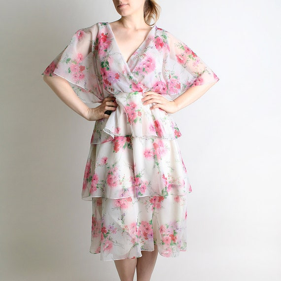 1970s Wrap Dress - Vintage Sheer Floral Tiered Ruffle Skirt Dress - Medium