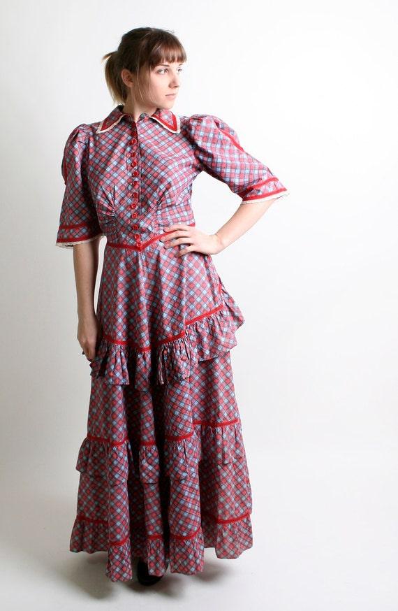 1930s Plaid Dress - Vintage Ruffles and Lace Southern Belle Maxi Dress - Medium Prairie Cranbery